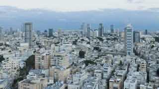 Elevated city view at dusk towards the commercial and business center, Tel Aviv, Israel, Middle East, Time lapse