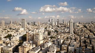 Elevated city view towards the commercial and business center, Tel Aviv, Israel, Middle East, Time lapse