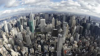 Elevated day view of the Manhattan Skyline from the Empire State Building Observation Deck, New York, USA, United States of America, Time-lapse