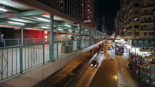 Elevated pedestrain walkway alongside a busy road in Mong Kok district, Kowloon, Hong Kong, China, T/lapse
