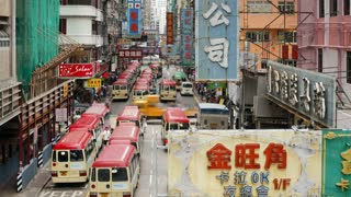 Elevated street scene in Monk kok, Kowloon, Hong Kong Island, Hong Kong, China, T/lapse