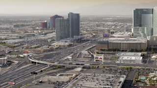 Elevated Time lapse of the Interstate running parallel to the Strip (Las Vegas Boulevard), showing the recent high density building of mega Casino resorts in Las Vegas, Nevada, USA
