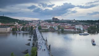 Elevated view across the Charles Bridge over the River Vitava, Prague, Czech Republic, Europe - T/lapse