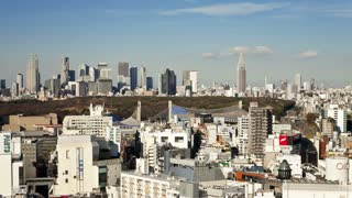 Elevated view from Shibuya looking towards the financial centre skyline of Shinjuku, Tokyo, Honshu, Japan, Asia