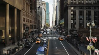 Elevated view looking along 42nd Street near Grand Central Station, Manhattan, New York City, New York, United States of America, North America, Time-lapse