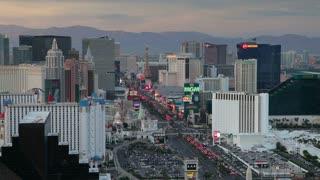 Elevated view of casinos on The Strip, Las Vegas, Nevada, USA