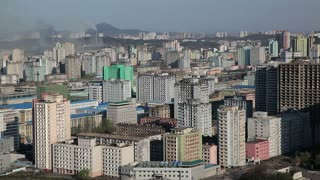 Elevated view of Pyongyang apartment buildings, North Korea, Asia
