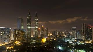 Elevated view of the Petronas Twin Towers, Kuala Lumpur City Centre KLCC, Malaysia, Kuala Lumpur, Asia, Time lapse