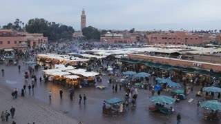 Elevated view over Djemaa el-Fna night market, Marrakech (Marrakesh), Morocco, North Africa, Africa