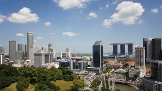 Elevated view over Fort Canning Park and the modern City Skyline, Singapore, South East Asia, Time lapse