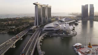 Elevated view over Singapore City Centre and Marina Bay, Singapore, South East Asia, Time lapse