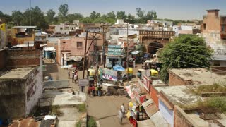Elevated view over the busy streets in the Old town of Agra, Uttar Pradesh state, India, Asia