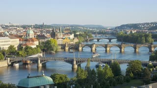 Elevated view over the Charles Bridge and River Vitava, Czech Republic, Europe - Time lapse