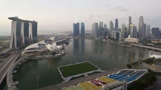 Elevated view over the City Centre and Marina Bay Singapore, South East Asia, Time lapse