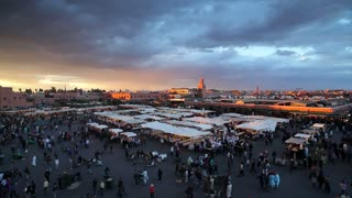 Elevated view over the Djemaa el-Fna, Marrakech, Marrakesh, Morocco, North Africa, Africa