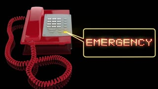 Emergency Red Phone with Emergency text