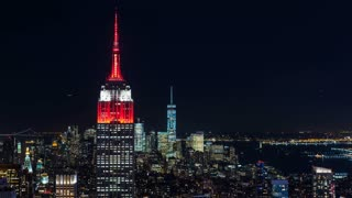 Empire State Building and Freedom Tower Manhattan New York Night Timelapse