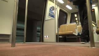 Empty Metro Train Leaves Station