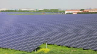 Energy solar panels on green fields