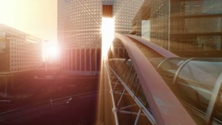 epic scenery. sun beam light. sun rays. bridge building