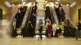 Escalator Traffic In NYC Station
