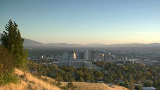 Establishing Shot Of Salt Lake City At Sunset