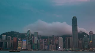 Evening at the Hong Kong and the Light Show. Time Lapse 4K