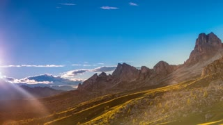 Evening in the Dolomites. Time Lapse UHD