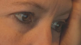Extreme Close Up on Womans Eyes as She Reads a Website