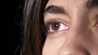 Extreme Closeup of Woman Putting Contact into Eye