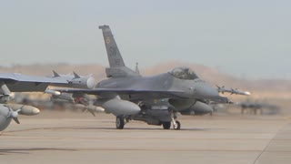 F-18 and F-16 on flight line at Red Flag