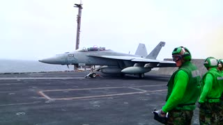 F-18 launch from aircraft carrier