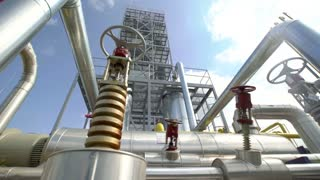 Factory distribution, and industrial processing of natural gas. Many pipelines and valves