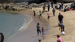 Families Play On Sandy Beach