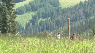 Family Hiking Through Tall Grasses 2