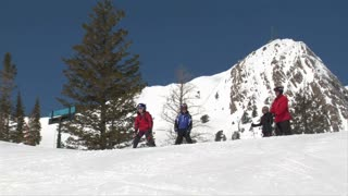 Family Of Skiiers Glide Down Hill, Blue Sky Day