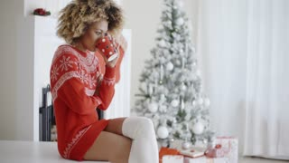 Fashionable woman in a festive Christmas outfit