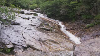 Fast-moving Stream Flowing Over Wet Rock Face, Wide Shot, Blue Ridge Mountains