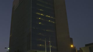 Federal Reserve Bank of Dallas Seal at Night Stock Video