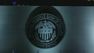 Federal Reserve Bank of Dallas Seal at Night