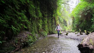 Female Hiker Walking in Stream
