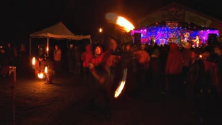 Fire Spinners At Festival