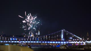 Fireworks above Kremlin and Moscow river. 4K video