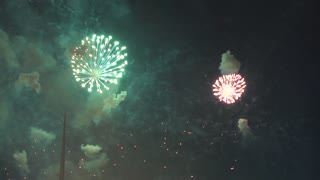 Fireworks at night. 4K slow motion shot