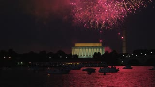 Fireworks Launching Behind DC Monuments