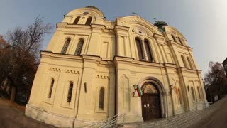 Fisheye View of Big Yellow Building in Romania