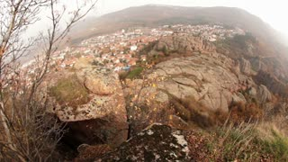 Fisheye View of Town From Mountain Top