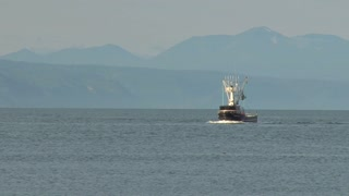 Fishing Trawler Through Calm Water