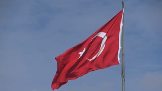 Flag of Turkey Blowing in Wind