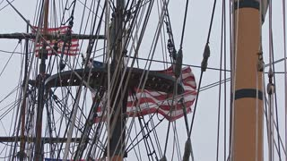 Flag Waving In Ship Rigging